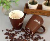 Taza impresa por encargo de Brown del gres 12oz para el café