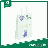 Papel Kraft blanco bolsa con el logotipo impreso para compras