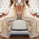 소매 당 신부 들러리 복장 (꿈 100047)가 근사한 금 Sequins에 의하여 누전한다