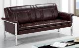 Sofá popular do couro do escritório da alta qualidade com o coxim 691#. do dobro do frame do metal
