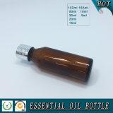Europäische bernsteinfarbige wesentliches Öl-Glasflasche mit Schutzkappe, Tropfenzähler, Pumpe
