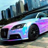 Tsautop heißes verkaufen1.42*20m wasserdichtes Luftblase frei selbstklebendes Belüftung-Vinylauto, das Regenbogen-Laser-Chrom-Auto-Aufkleber einwickelt