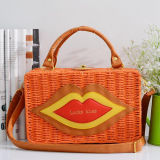 2017 New Style Lady Straw Bag com Lip Hot Selling Box Bags Shoulder Handbag T110