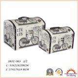 2 PC 가정 가구 인쇄되는 직물을%s 가진 나무로 되는 고대 여행 가방 저장 상자 선물 상자