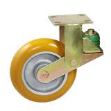 Plaqué de 6 pouces de Dichromate de jaune de la voie ronde rigide PU sur roulettes à ressort de roue en aluminium