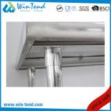 Banco contínuo reforçado da construção robusta da câmara de ar do aço inoxidável prateleira redonda com beira e pé ajustável da altura