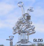 Gldg conduite d'eau en verre Illuminati de Borosilicate de qualité de hauteur de 12 pouces d'avantage grisant de moulin à vent de Pyrex Handblown