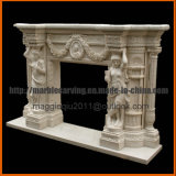 Cornija de lareira de mármore natural Mf1726 da chaminé das estátuas da bordadura da chaminé