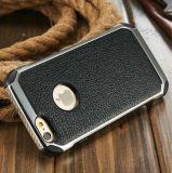 Electroplate Textura de metal PU de cuero Funda para el iPhone 6