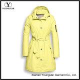 Плащ Packable женщин пальто дождя способа облегченный длинний с клобуком