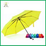 """Paraguas barato de la promoción del doblez del almacén del dólar de los puntos al por menor superventas 21 """" con la impresión de la insignia"""