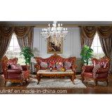 Sofà classico del cuoio di legno del salone (UL-NSC003)