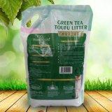 De groene Tofu van de Geur van de Thee Draagstoel van de Kat met Gemakkelijke Lepel