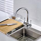 Les robinets de cuisine de fini de chrome de Flg filètent les mains duelles