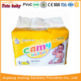 Fraldas para bebés Camy descartáveis com película PE as fitas de PP