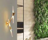 寝室の方法現代木のフォークLEDの読書Sconceは終わる金の壁ランプをつける