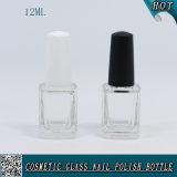 12ml Botella de vidrio vacía de barniz de uñas con tapa de plástico negro y blanco y cepillo