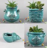 Decoración suculenta al aire libre de interior de la flor de la hierba del crisol de cerámica del plantador