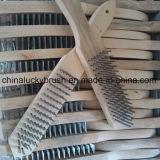 Escova de madeira frisada do punho do fio de aço (YY-127)