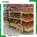 L'hypermarché de supermarchés de luxe en bois de pin de légumes Voiture d'affichage de rack