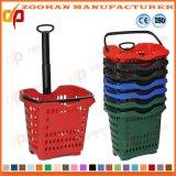 Panier à provisions en plastique coloré de supermarché avec les roues (Zhb94)