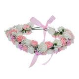 Grinalda da coroa da flor que Wedding o cabelo floral de Rosa da espuma dobro nupcial