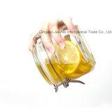 runde Glasoberseite-Speicher-Flasche des clip-500ml für Honig