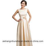 Reizvolle Satin-Aprikosen-elegante lange formale Abend-Kleider