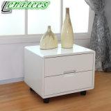 T02普及したデザイン白く高い光沢のある夜立場のベッドサイド・テーブル