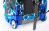 Zaino a ruote blu del banco, carrello di rotolamento della spalla di Bookbag di corsa del sacchetto del computer portatile