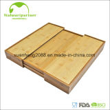 Expandierbares Bambustischbesteck-Speicher-Tellersegment mit Messer-Block