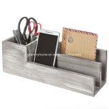 Encalado rústico de madera gris Office Desktop Organizer Clasificador de correspondencia
