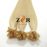 ブロンドカラー自然な引かれたロシアの毛の釘の先端の毛のサンプル毛
