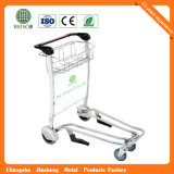 Round Handle Stainless Steel Airport Baggage Trolley com auto freio
