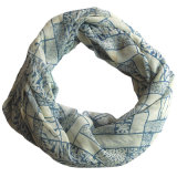 Écharpe Chiffon d'infini de polyester estampée par léopard de mode de dames (YKY1113)