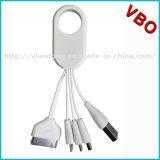 Cable de carga rápido 4 de Keychain de la alta calidad en 1 cable móvil multi del cargador del coche del USB