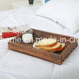 Стране деревенском стиле деревянный настил завтрак подают лоток