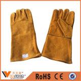 Перчатки теплостойкfGs заварки коровы Split промышленные кожаный