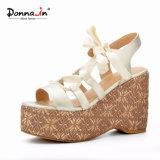 Pattini dei sandali della piattaforma del tessuto degli alti talloni della signora Casual Lace-up Women