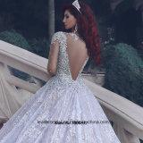Vestido de casamento nupcial 2017 M2889 dos cristais dos vestidos de esfera das luvas longas
