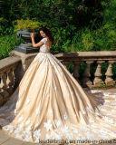 Schutzkappe Sleeves Hochzeits-Kleid-kundenspezifisches Champagne-Spitze-Hochzeits-Kleid G17809