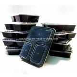 Contenitore di alimento di plastica a gettare della preparazione del pasto dei 3 scompartimenti