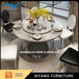 Mesa de jantar de mesa de vidro de aço inoxidável superior