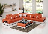 Sofá de cuero amarillento del estilo europeo moderno con la luz del LED (HC1123)