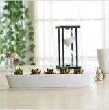Personifizierter keramisches olivgrünes Bootgeformter weißer Miniflowerpot