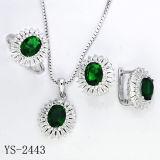 Nieuwe Ontwerpen 925 de Zilveren die Juwelen van CZ met Geplateerd Zilver worden geplaatst