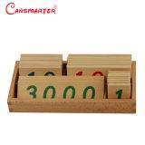 Petit nombre de cartes avec boîte en bois (1-3000) matériaux Montessori de puzzle en bois jouets éducatifs