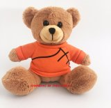 Urso bonito da peluche do luxuoso do urso da peluche do luxuoso com o t-shirt alaranjado da esfera