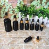 Botella de cristal vacía del cuentagotas del petróleo esencial de la capa negra caliente de la venta 30ml 50ml 100ml con la bomba