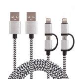 2 en cable aislado Nylone del USB de la carga y de la sinc. de 1 para el iPhone, Samsung telefonan